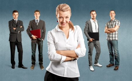 happy business man: Business team against different backgrounds