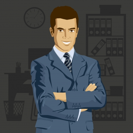 Vector business man in suit with folded hands. All layers well organized and easy to edit Stock Vector - 23176671
