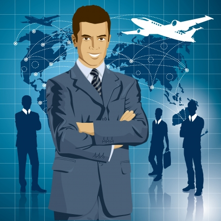 Vector Idea and travel concept. Business man with laptop in his hands. All layers well organized and easy to edit Vector
