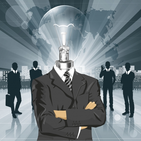 Vector Idea and concept, Lamp head business man in suit. All layers well organized and easy to edit Vector
