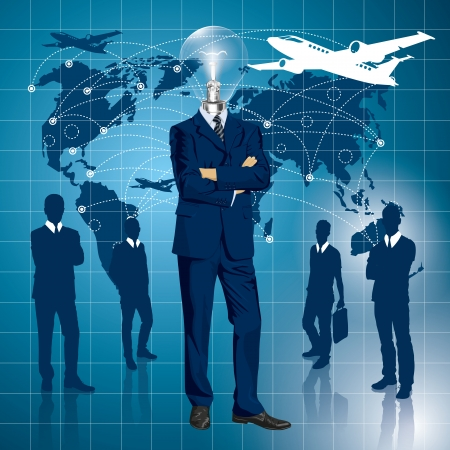 Vector Idea and travel concept, Lamp head business man in suit. All layers well organized and easy to edit Stock Vector - 23176697