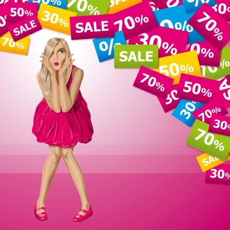 놀라운: 판매 개념입니다. 벡터 구매 해야할지 모르겠어요 핑크 드레스에 금발을 놀라게했다. 모든 층을 잘 조직하고 쉽게 편집 할 수