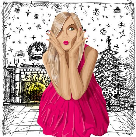 놀라운: 크리스마스 개념입니다 구입해야할지 모르겠어요 핑크 드레스에 금발을 놀라게했다. 모든 층을 잘 조직하고 쉽게 편집 할 수