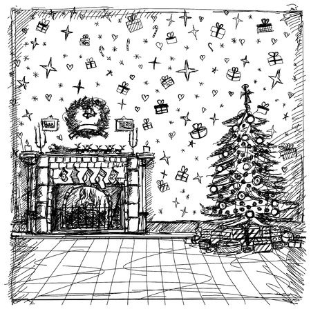 christmas fireplace: Vector Xmas concept. Sketch background with Christmas Illustration