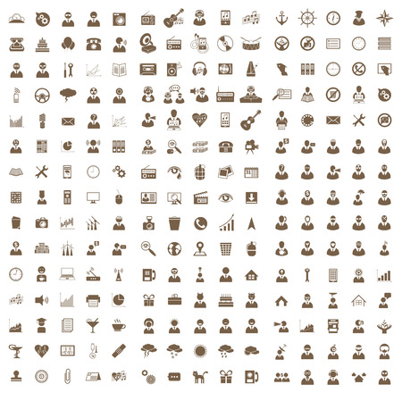 Vector set of business, health, music, hipster icons, symbols and pictograms Vector