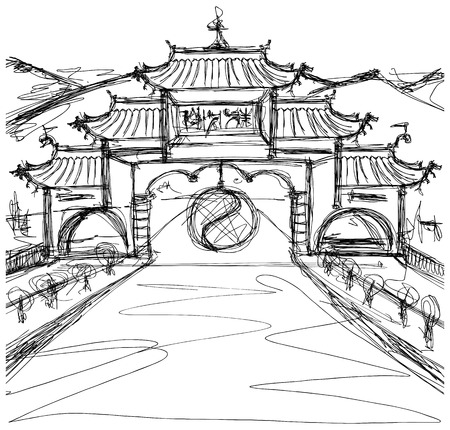 kung fu: Vector Kung Fu Concept. Sketch background with china