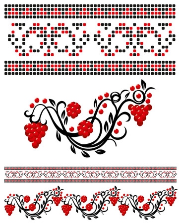 guelderrose: Vector traditional ukrainian pattern with guelder-rose