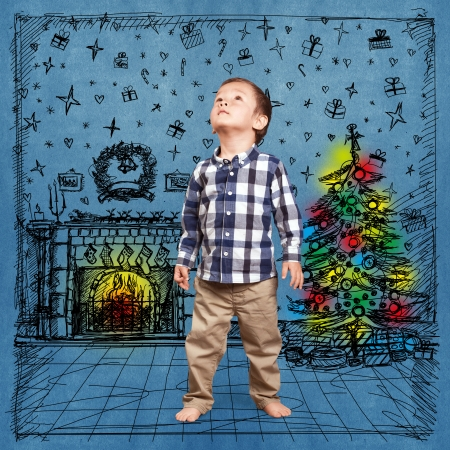 Baby looking up in Christmas, cute little boy photo
