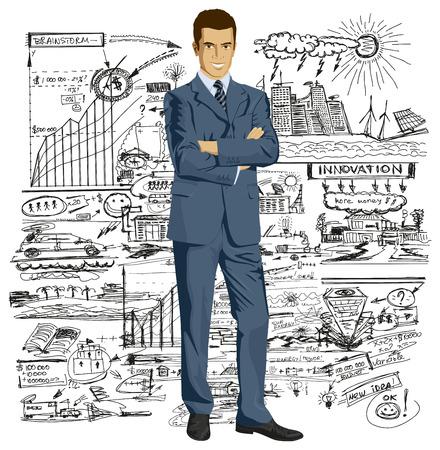 Vector business uomo in tuta con le mani giunte. Tutti gli strati ben organizzate e facili da modificare