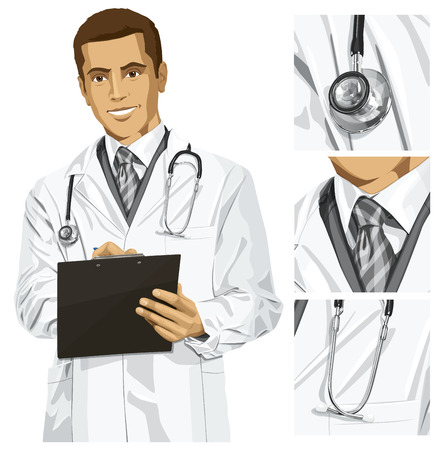 Vector doctor man writing something with marker on clipboard Stock Vector - 23575866