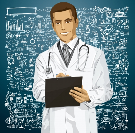 Vector doctor man writing something with marker on clipboard Stock Vector - 23575867