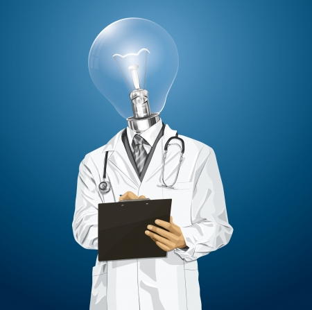 researches: Idea medical concept. Vector lamp head doctor man writing something with marker on clipboard Illustration
