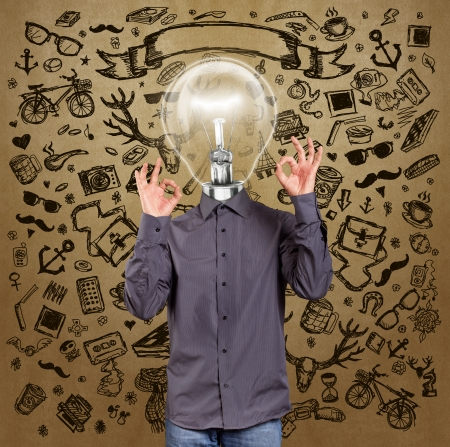 Hipster lamp head man shows OK against different backgrounds photo