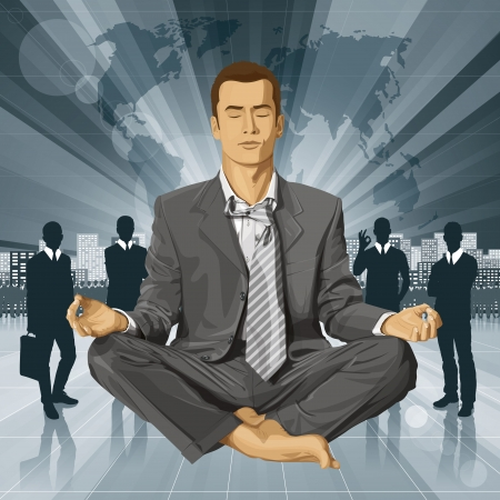 Relax concept. Vector businessman in lotus pose meditating Stock Vector - 23986945