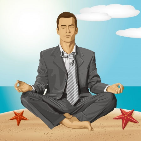 Relax travel concept. Vector businessman in lotus pose meditating Stock Vector - 23986951
