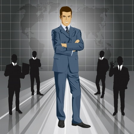 Vector business man in suit with folded hands. All layers well organized and easy to edit Vector