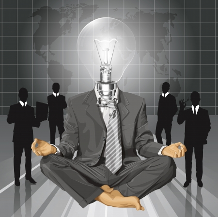 Relax concept. Vector lamp head businessman in lotus pose meditating Stock Vector - 23986946