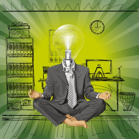 Relax concept. Vector lamp head businessman in lotus pose meditating Stock Vector - 23986949