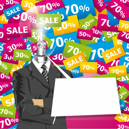 folded hands: Sale concept. Vector business man in suit with folded hands. All layers well organized and easy to edit