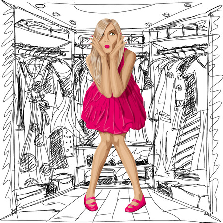Fashion concept. Vector surprised blonde in pink dress do not know what to wear. All layers well organized and easy to edit
