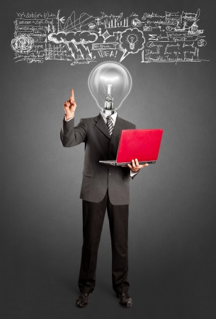 Idea concept. Lamp head business man shows something with his finger photo