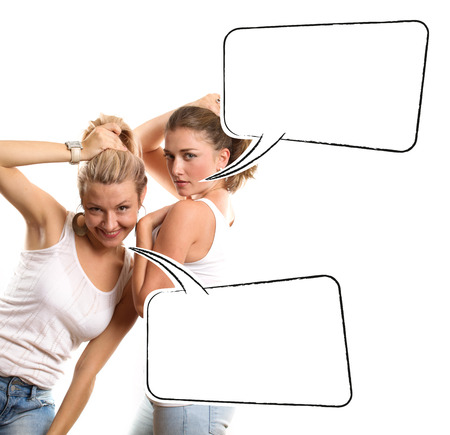 Gay couple, two women looking on camera with speech bubble photo