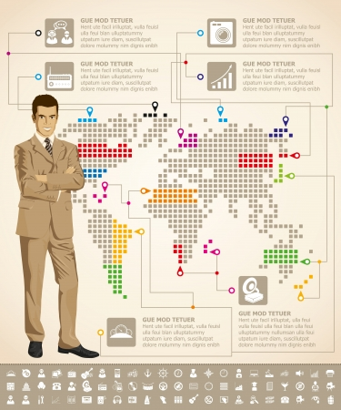 anchor man: Vector infogrsphic with business man, earth map and web isons, and elements usefull for any visualisations Illustration
