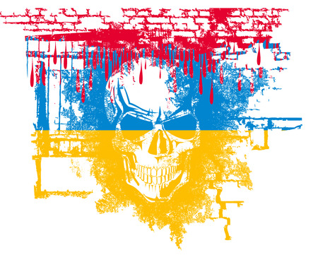 scary grunge skull with blood and Ukrainian flag, and bricks  Stock Vector - 25512947