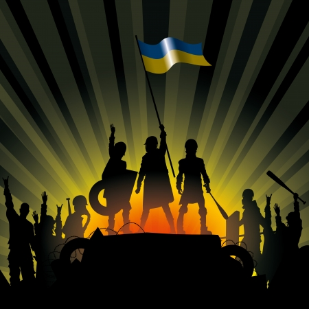 Vector illustration silhouettes of revolution people in Ukraine
