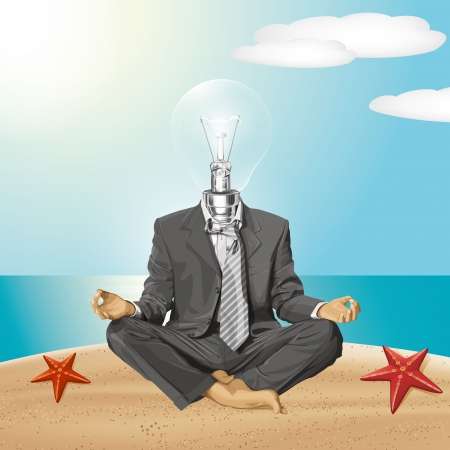 Relax travel concept. lamp head businessman in lotus pose meditating Stock Vector - 25526644