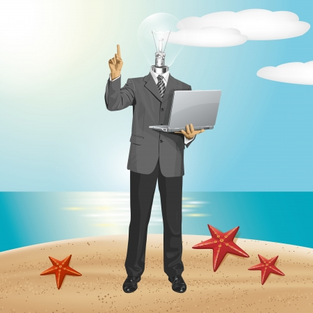 Idea travel concept. lamp head business man shows something with his finger