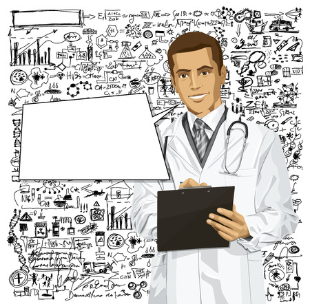 researches: doctor man writing something with marker on clipboard