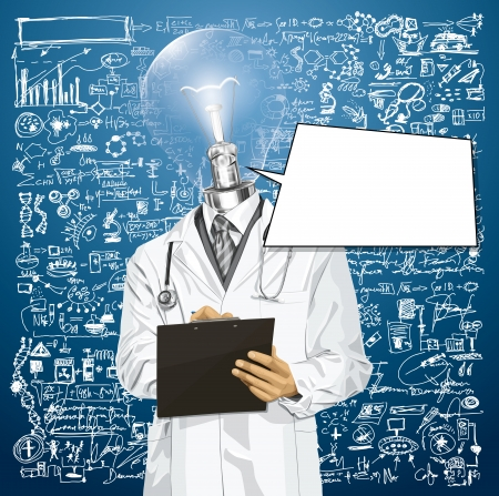 researches: Idea medical concept. lamp head doctor man writing something with marker on clipboard