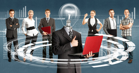 Idea cyber space concept. Lamp Head and Business team against different backgrounds photo
