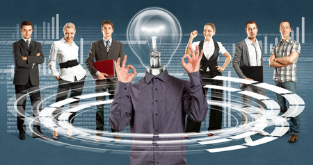 Idea cyber space concept. Lamp Head and Business team against different backgrounds Stock Photo - 26074201