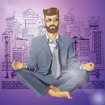 Relax concept. Vector hipster businessman in lotus pose meditating Stock Vector - 25999536