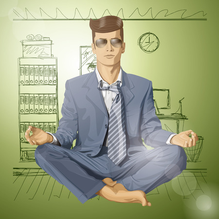 Relax concept. Vector hipster businessman in lotus pose meditating Stock Vector - 25999543