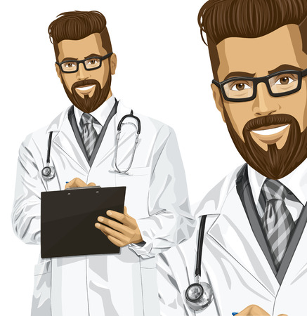 Vector hipster doctor man writing something with marker on clipboard Stock Vector - 25999696