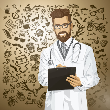 Vector hipster doctor man writing something with marker on clipboard Stock Vector - 25999698