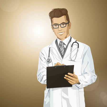 researches: Vector hipster doctor man writing something with marker on clipboard