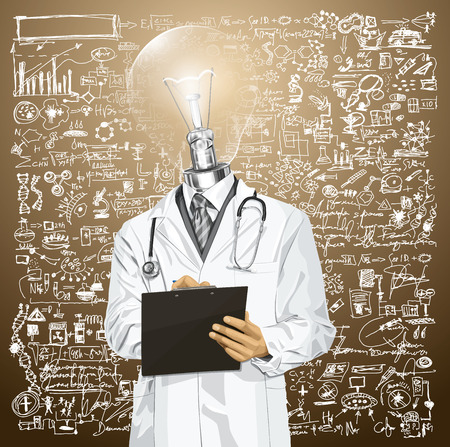 Idea medical concept. Vector lamp head doctor man writing something with marker on clipboard Stock Vector - 25999765