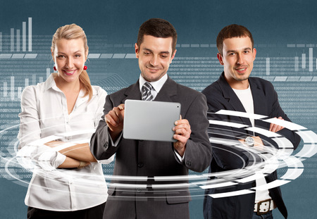 Business Team, man, woman and businessman with touch pad Stock Photo - 26074243