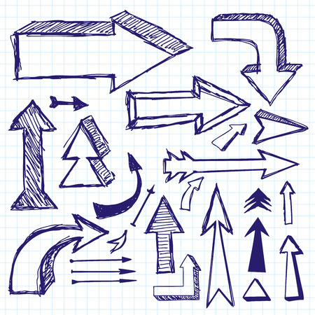 bussines: Vector idea sketch background with arrows drawn with pen