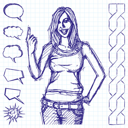 Vector sketch, comics style happy girl with finger up Vector