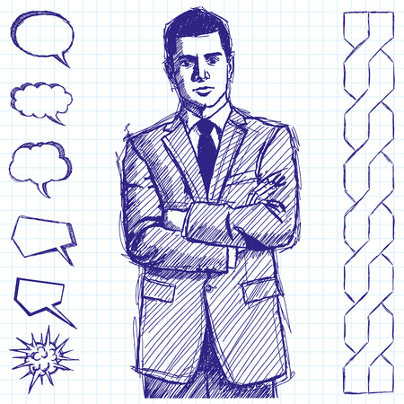 folded hands: Vector sketch, comics style man businessman in suit, with folded hands, looking on camera