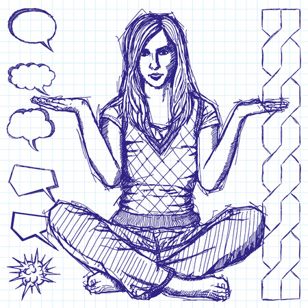 Vector sketch, comics style woman in lotus pose with open hands Vector