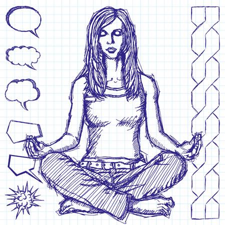 Vector sketch, comics style woman meditation in lotus pose Vector