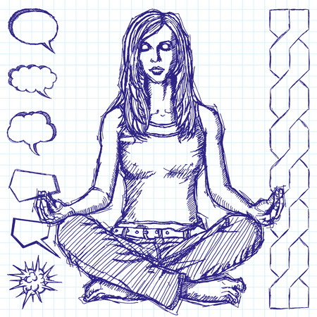 chatter: Vector sketch, comics style woman meditation in lotus pose