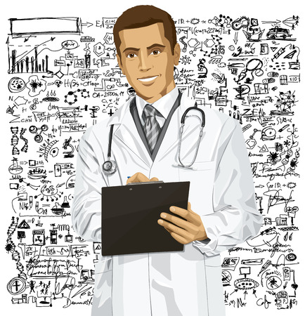 Vector doctor man writing something with marker on clipboard Stock Vector - 26537837