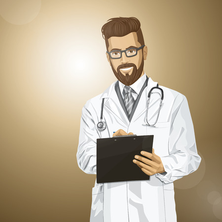 Vector hipster doctor man writing something with marker on clipboard Stock Vector - 26537839